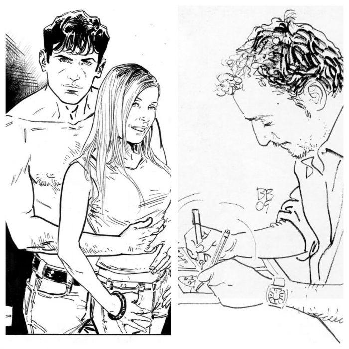 Luca Raimondo e un suo disegno di Dylan Dog